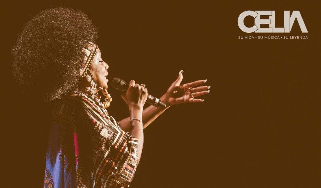Celia Cruz performing salsa music