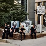 police sitting at Black Lives Matter protest