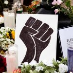 flowers and art at Black Lives Matter protest