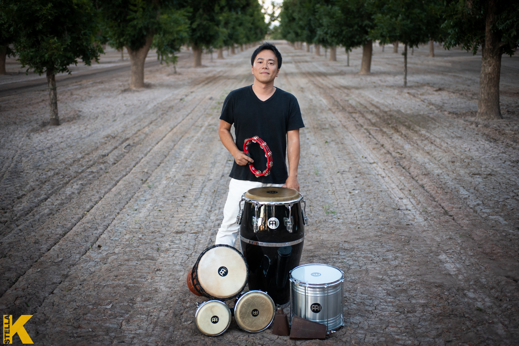 Keita Ogawa stands with his percussion instruments