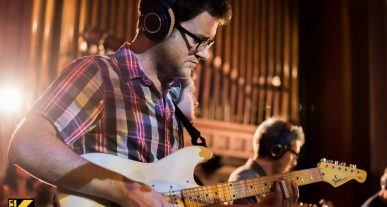 Bob Lanzetti playing guitar with Snarky Puppy