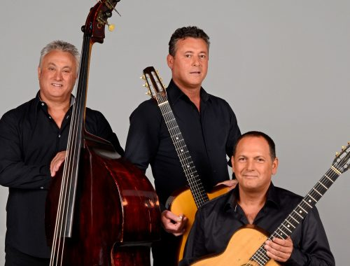 Rosenberg Trio press image with their instruments